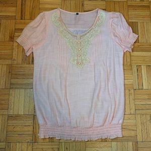 Pink Embroidered Neck Design Blouse Ruffles Fringe